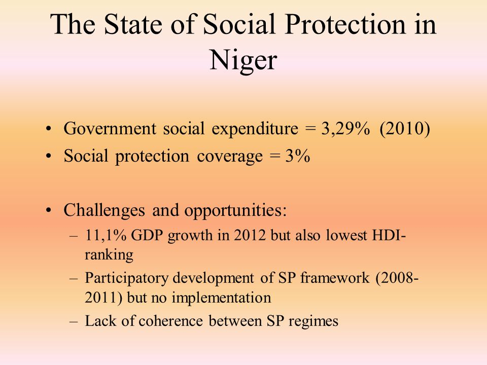The State of Social Protection in Niger Government social expenditure = 3,29% (2010) Social protection coverage = 3% Challenges and opportunities: –11,1% GDP growth in 2012 but also lowest HDI- ranking –Participatory development of SP framework (2008- 2011) but no implementation –Lack of coherence between SP regimes