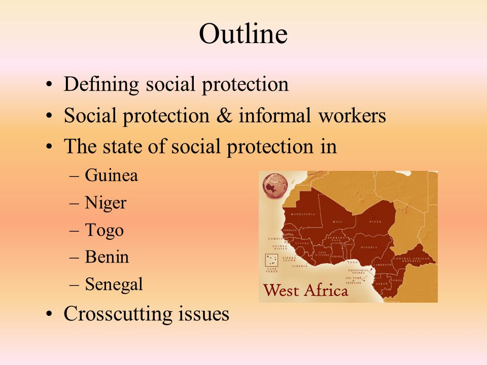 Social Protection Schemes in Guinea Informal workers mostly resort to traditional safety nets and Mutuelles de Santé (e.g.