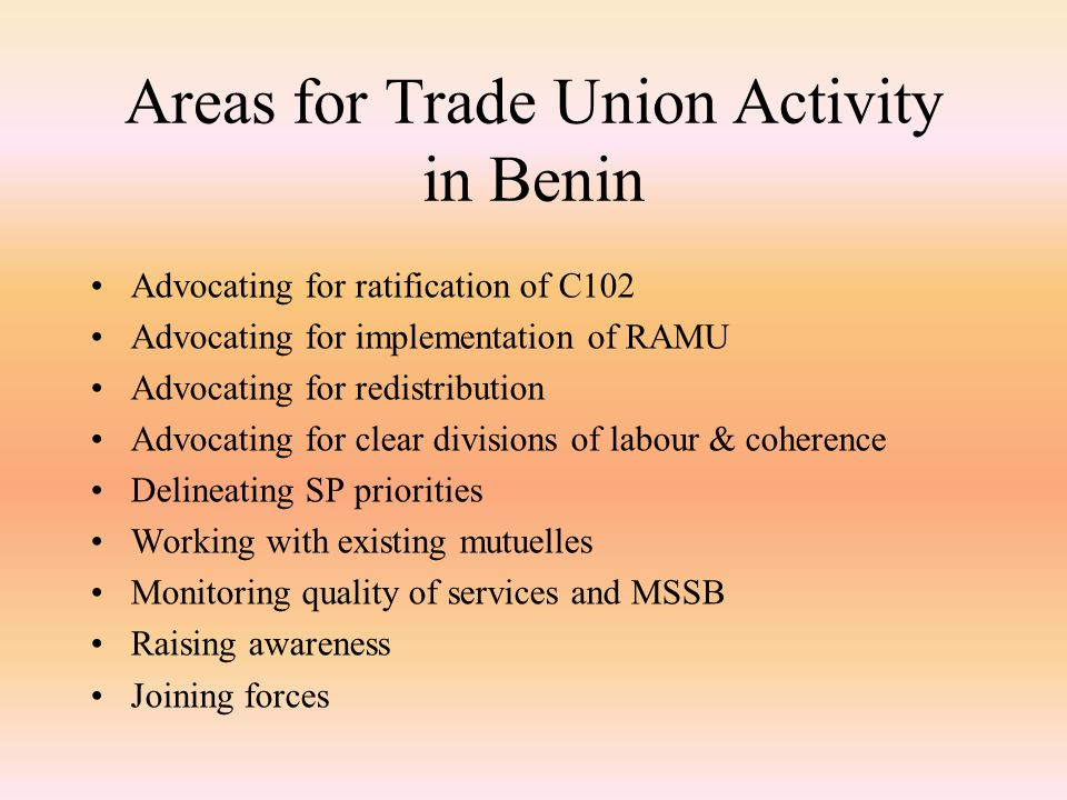 Areas for Trade Union Activity in Benin Advocating for ratification of C102 Advocating for implementation of RAMU Advocating for redistribution Advocating for clear divisions of labour & coherence Delineating SP priorities Working with existing mutuelles Monitoring quality of services and MSSB Raising awareness Joining forces