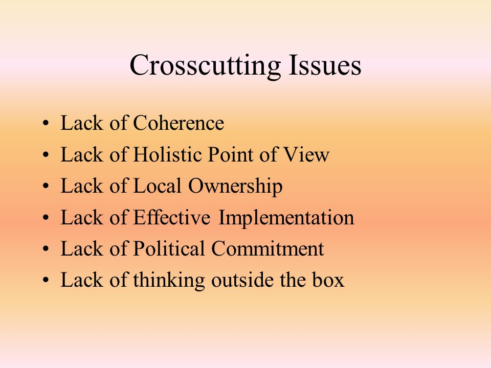 Crosscutting Issues Lack of Coherence Lack of Holistic Point of View Lack of Local Ownership Lack of Effective Implementation Lack of Political Commitment Lack of thinking outside the box