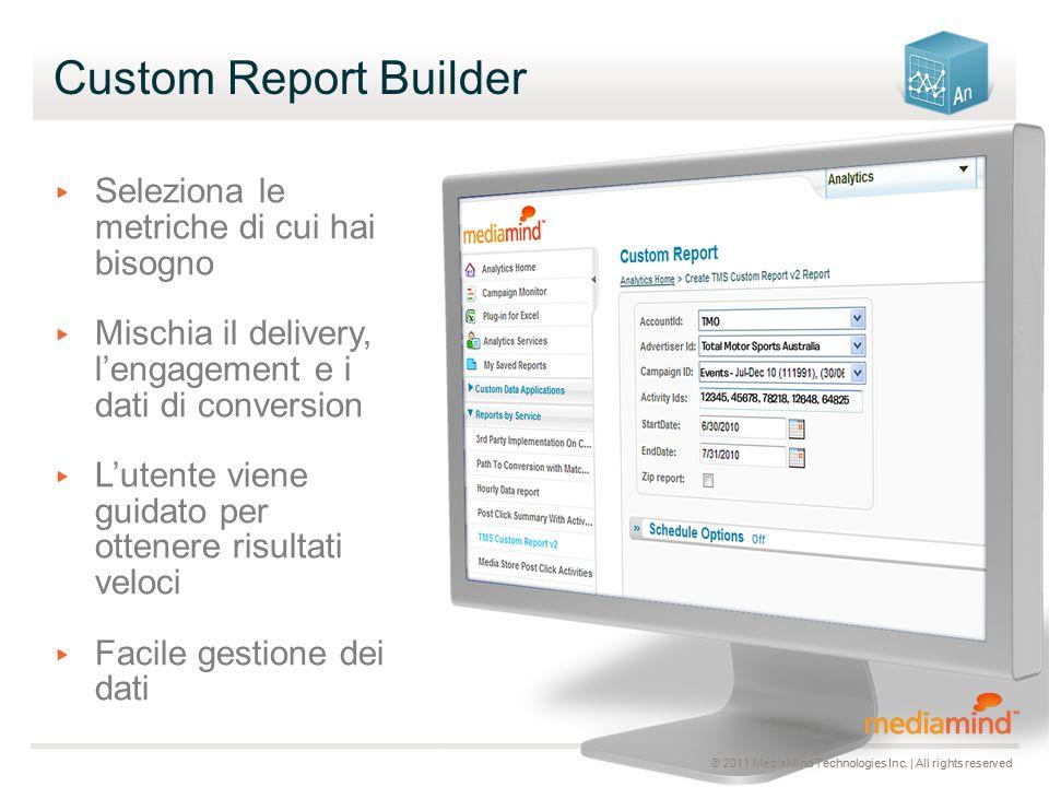 Custom Report Builder ▸ Seleziona le metriche di cui hai bisogno ▸ Mischia il delivery, l'engagement e i dati di conversion ▸ L'utente viene guidato per ottenere risultati veloci ▸ Facile gestione dei dati © 2011 MediaMind Technologies Inc.