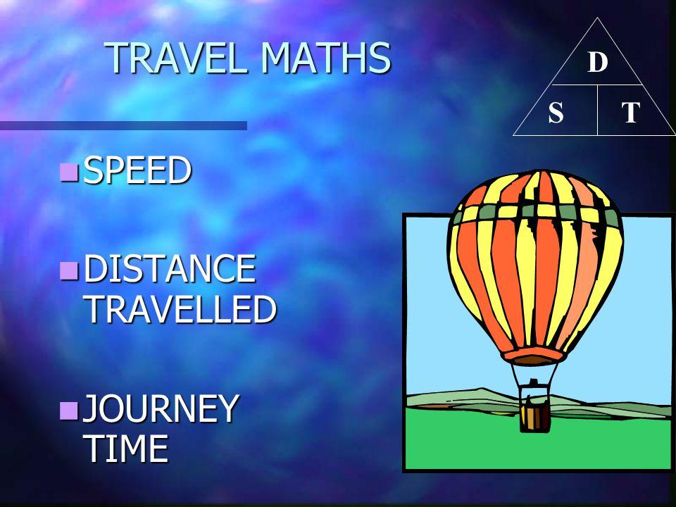 TRAVEL MATHS TRAVEL MATHS SPEED SPEED DISTANCE TRAVELLED DISTANCE TRAVELLED JOURNEY TIME JOURNEY TIME D TS