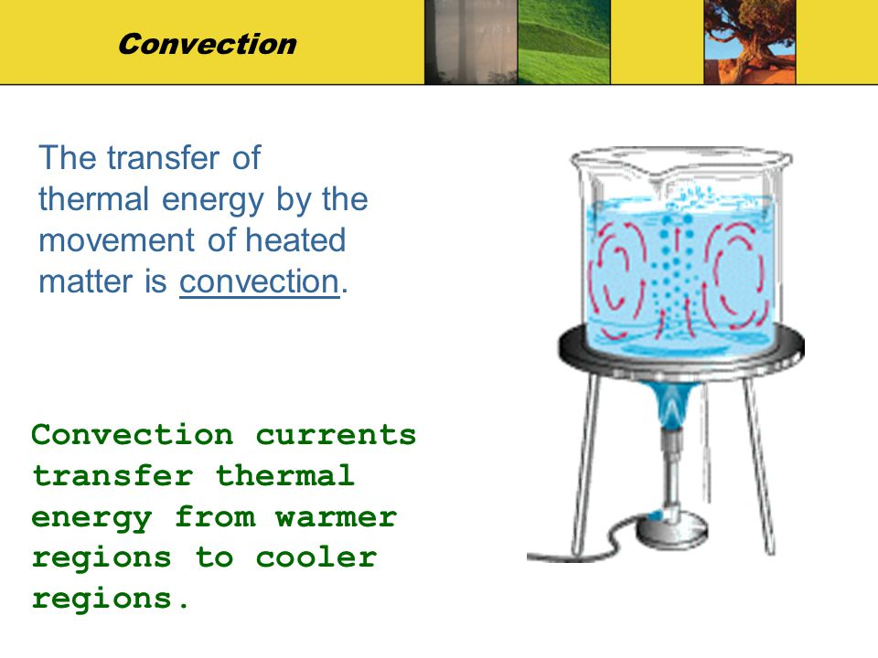 Convection The transfer of thermal energy by the movement of heated matter is convection. Convection currents transfer thermal energy from warmer regi