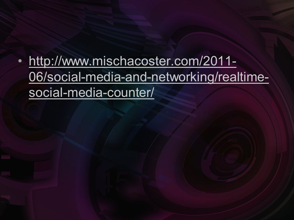 http://www.mischacoster.com/2011- 06/social-media-and-networking/realtime- social-media-counter/http://www.mischacoster.com/2011- 06/social-media-and-