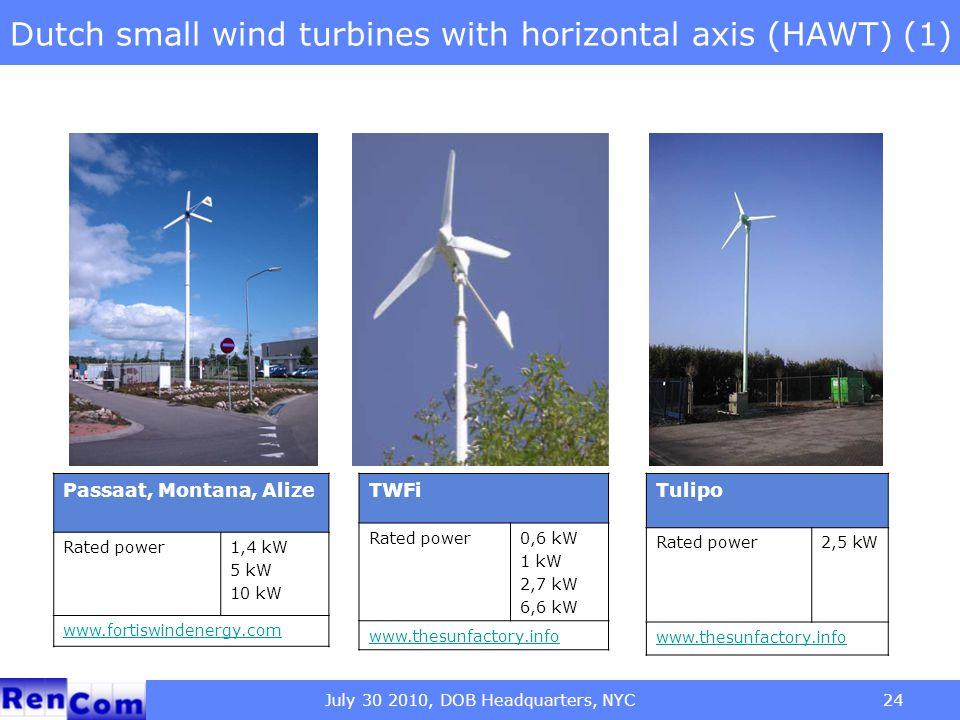 July 30 2010, DOB Headquarters, NYC24 Dutch small wind turbines with horizontal axis (HAWT) (1) Passaat, Montana, Alize Rated power1,4 kW 5 kW 10 kW w