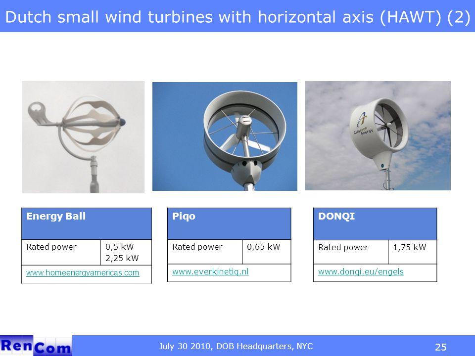 July 30 2010, DOB Headquarters, NYC 25 Dutch small wind turbines with horizontal axis (HAWT) (2) Energy Ball Rated power0,5 kW 2,25 kW www.homeenergya