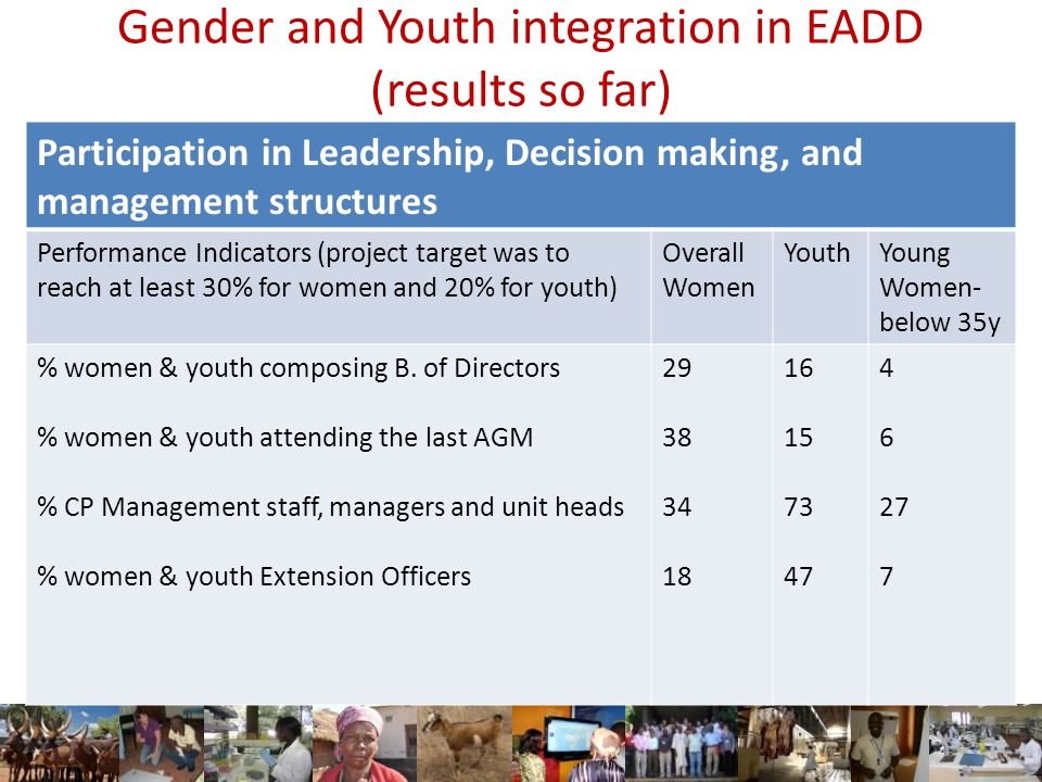 Gender and Youth integration in EADD (results so far) Participation in Leadership, Decision making, and management structures Performance Indicators (project target was to reach at least 30% for women and 20% for youth) Overall Women YouthYoung Women- below 35y % women & youth composing B.
