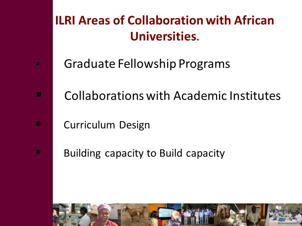ILRI Areas of Collaboration with African Universities.