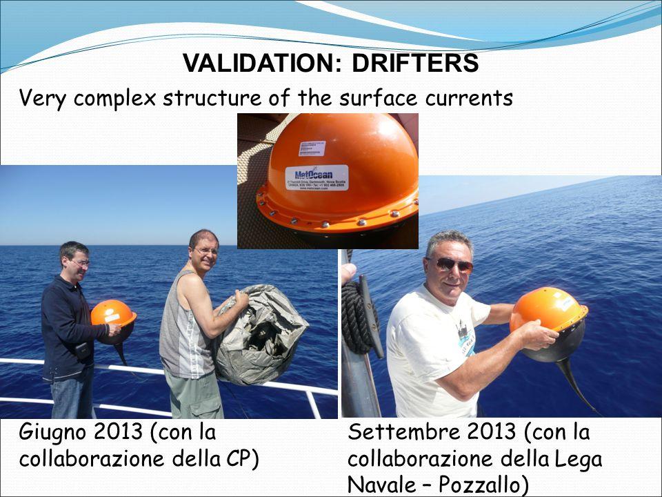 VALIDATION: DRIFTERS Very complex structure of the surface currents Giugno 2013 (con la collaborazione della CP) Settembre 2013 (con la collaborazione della Lega Navale – Pozzallo)