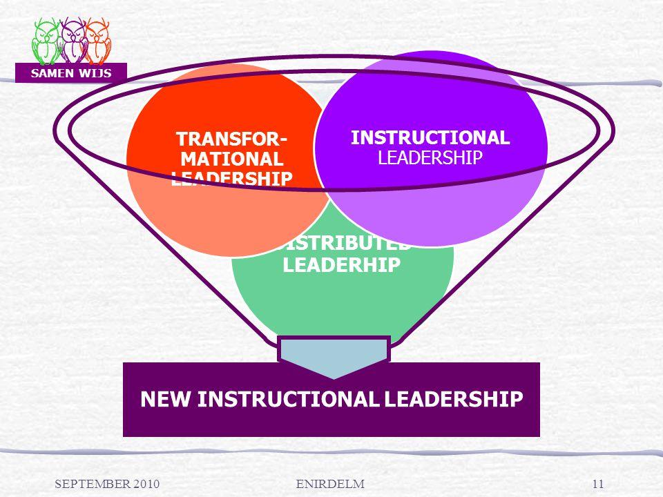 SAMEN WIJS NEW INSTRUCTIONAL LEADERSHIP DISTRIBUTED LEADERHIP TRANSFOR- MATIONAL LEADERSHIP INSTRUCTIONAL LEADERSHIP SEPTEMBER 201011ENIRDELM