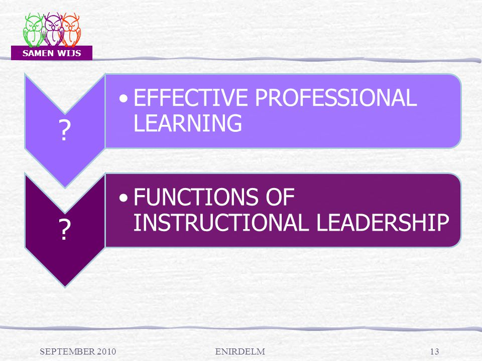 SAMEN WIJS SEPTEMBER 2010ENIRDELM13 ? EFFECTIVE PROFESSIONAL LEARNING ? FUNCTIONS OF INSTRUCTIONAL LEADERSHIP