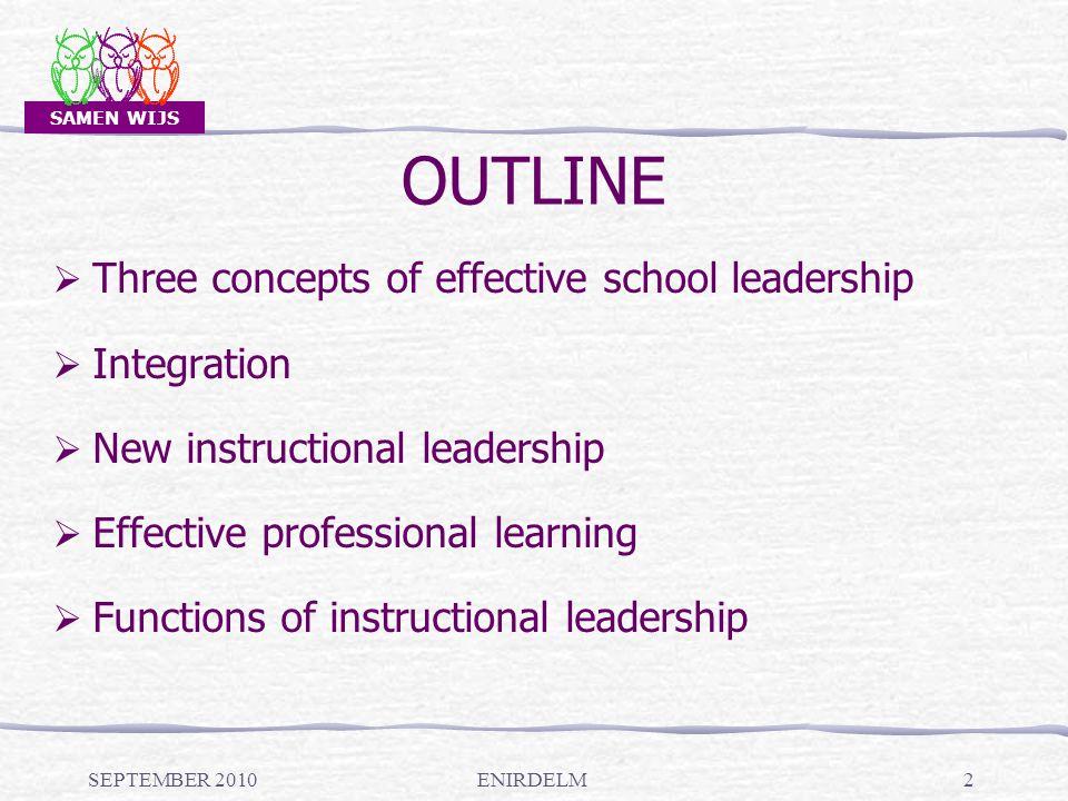 SAMEN WIJS OUTLINE SEPTEMBER 2010ENIRDELM2  Three concepts of effective school leadership  Integration  New instructional leadership  Effective professional learning  Functions of instructional leadership