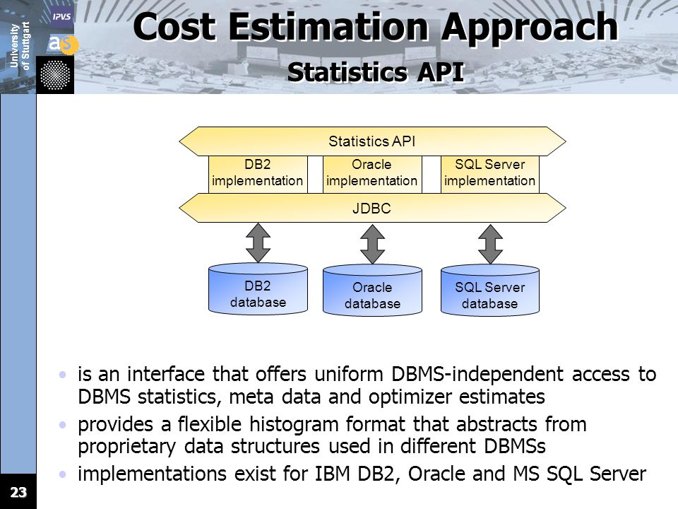 23 Cost Estimation Approach Statistics API is an interface that offers uniform DBMS-independent access to DBMS statistics, meta data and optimizer est