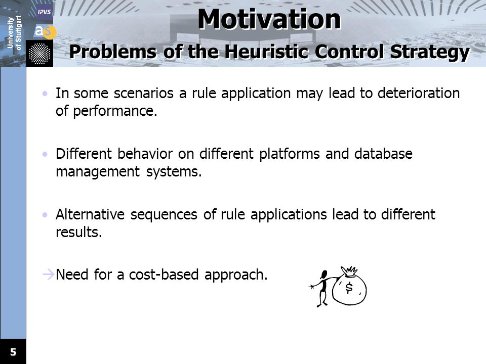 University of Stuttgart 5 Motivation Problems of the Heuristic Control Strategy In some scenarios a rule application may lead to deterioration of performance.