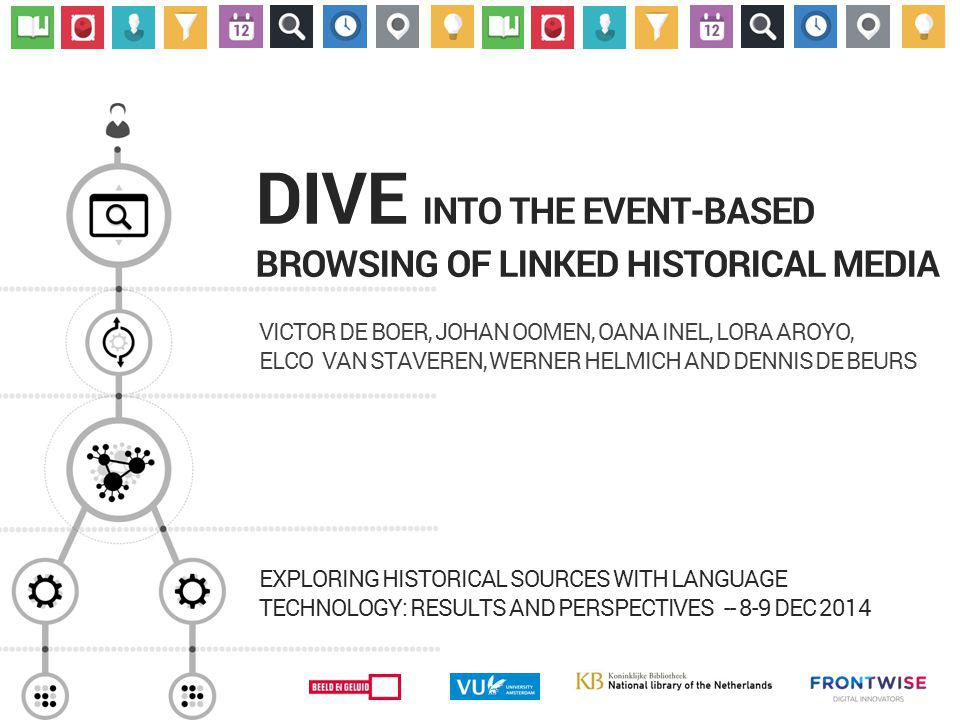 DIVE INTO THE EVENT-BASED BROWSING OF LINKED HISTORICAL MEDIA VICTOR DE BOER, JOHAN OOMEN, OANA INEL, LORA AROYO, ELCO VAN STAVEREN, WERNER HELMICH AND DENNIS DE BEURS EXPLORING HISTORICAL SOURCES WITH LANGUAGE TECHNOLOGY: RESULTS AND PERSPECTIVES -- 8-9 DEC 2014