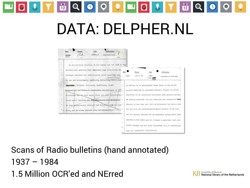 DATA: DELPHER.NL Scans of Radio bulletins (hand annotated) 1937 – 1984 1.5 Million OCR'ed and NErred