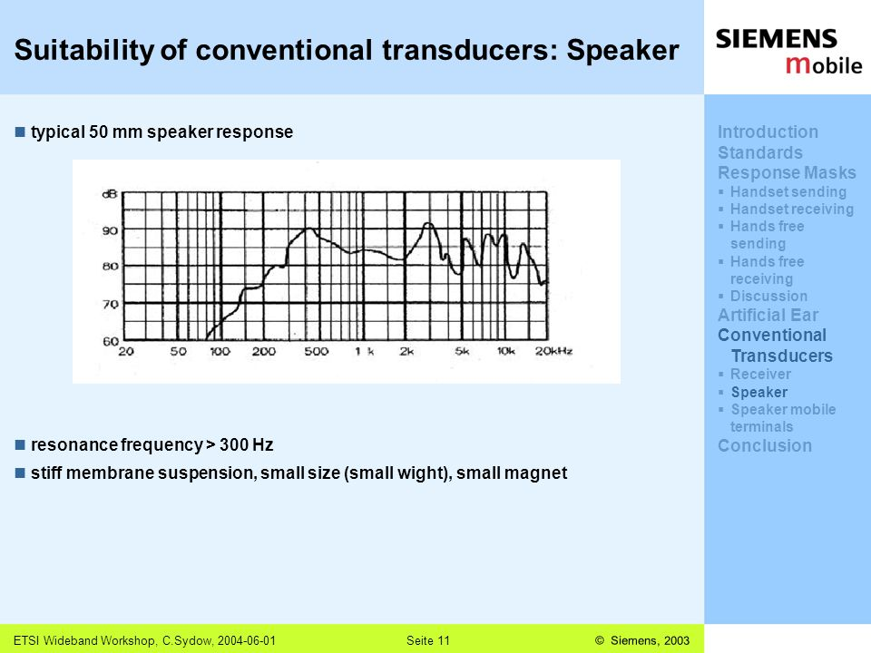 © Siemens, 2003 11,602,207,002,40 11,60 5,60 1,00 1,20 7,80 ETSI Wideband Workshop, C.Sydow, 2004-06-01Seite 11 Suitability of conventional transducers: Speaker typical 50 mm speaker response resonance frequency > 300 Hz stiff membrane suspension, small size (small wight), small magnet Introduction Standards Response Masks  Handset sending  Handset receiving  Hands free sending  Hands free receiving  Discussion Artificial Ear Conventional Transducers  Receiver  Speaker  Speaker mobile terminals Conclusion