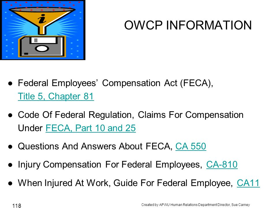Created by APWU Human Relations Department Director, Sue Carney 118 OWCP INFORMATION ●Federal Employees' Compensation Act (FECA), Title 5, Chapter 81 ●Code Of Federal Regulation, Claims For Compensation Under FECA, Part 10 and 25FECA, Part 10 and 25 ●Questions And Answers About FECA, CA 550CA 550 ●Injury Compensation For Federal Employees, CA-810CA-810 ●When Injured At Work, Guide For Federal Employee, CA11CA11