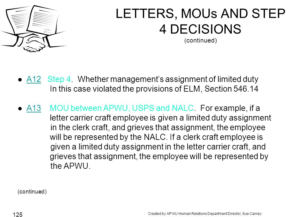 Created by APWU Human Relations Department Director, Sue Carney 125 LETTERS, MOUs AND STEP 4 DECISIONS (continued) ●A12 Step 4.