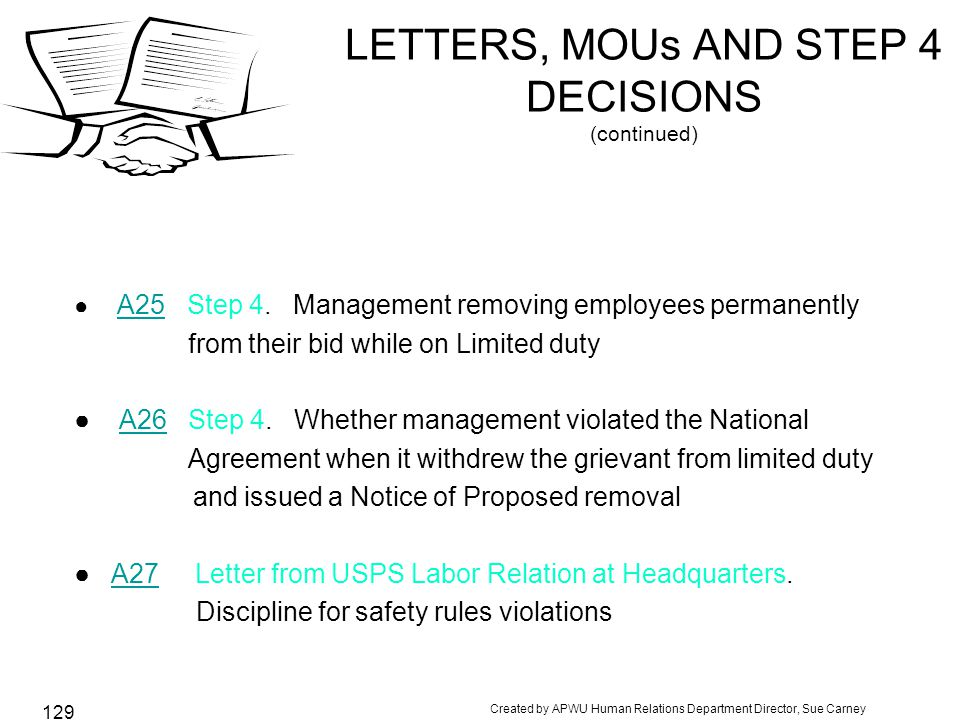 Created by APWU Human Relations Department Director, Sue Carney 129 LETTERS, MOUs AND STEP 4 DECISIONS (continued) ● A25 Step 4.