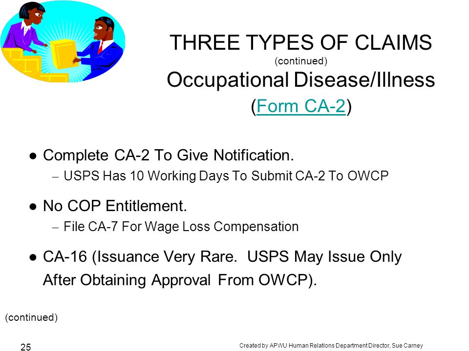 Created by APWU Human Relations Department Director, Sue Carney 25 THREE TYPES OF CLAIMS (continued) Occupational Disease/Illness (Form CA-2)Form CA-2 ●Complete CA-2 To Give Notification.
