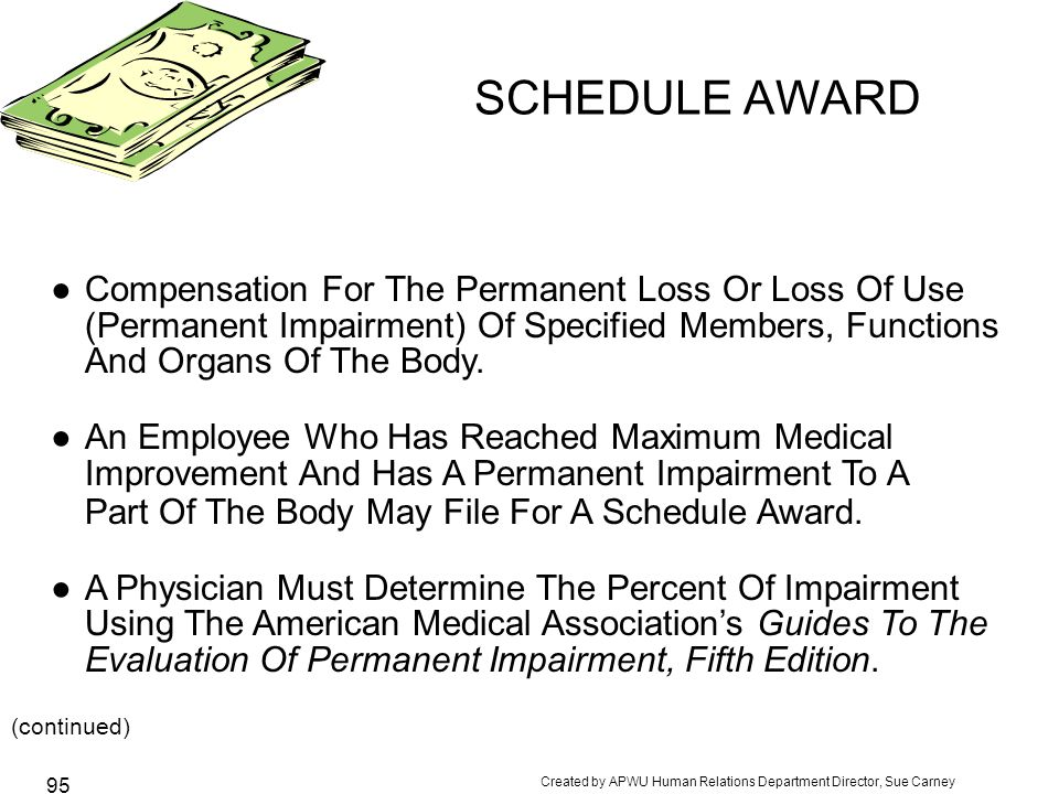 Created by APWU Human Relations Department Director, Sue Carney 95 SCHEDULE AWARD ●Compensation For The Permanent Loss Or Loss Of Use (Permanent Impairment) Of Specified Members, Functions And Organs Of The Body.
