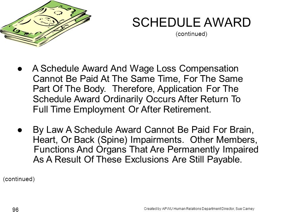 Created by APWU Human Relations Department Director, Sue Carney 96 SCHEDULE AWARD (continued) ● A Schedule Award And Wage Loss Compensation Cannot Be Paid At The Same Time, For The Same Part Of The Body.