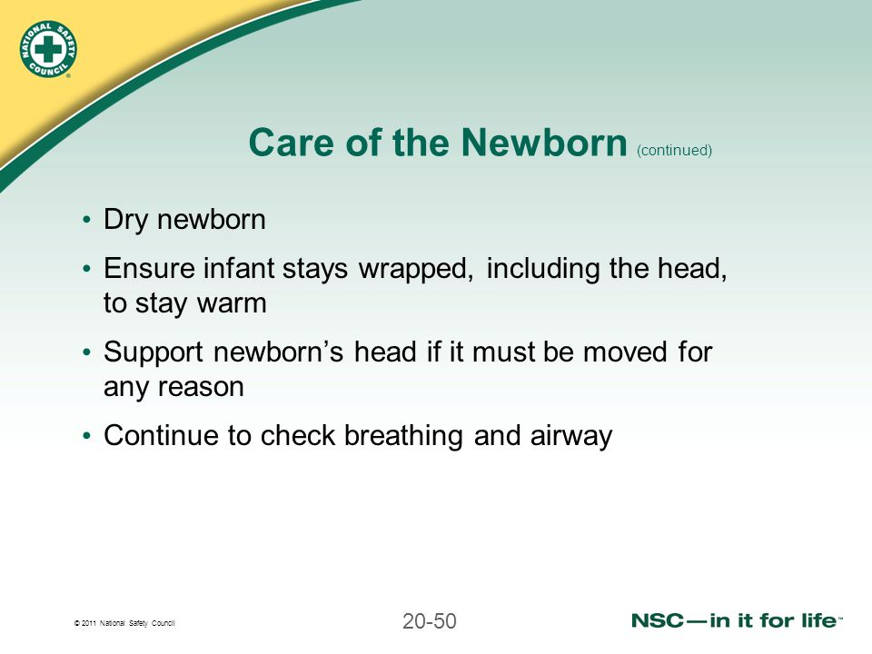 © 2011 National Safety Council 20-50 Care of the Newborn (continued) Dry newborn Ensure infant stays wrapped, including the head, to stay warm Support newborn's head if it must be moved for any reason Continue to check breathing and airway