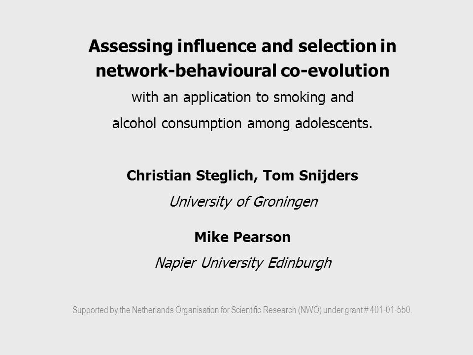 Assessing influence and selection in network-behavioural co-evolution with an application to smoking and alcohol consumption among adolescents.
