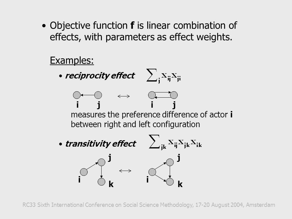 Objective function f is linear combination of effects, with parameters as effect weights. Examples: reciprocity effect measures the preference differe