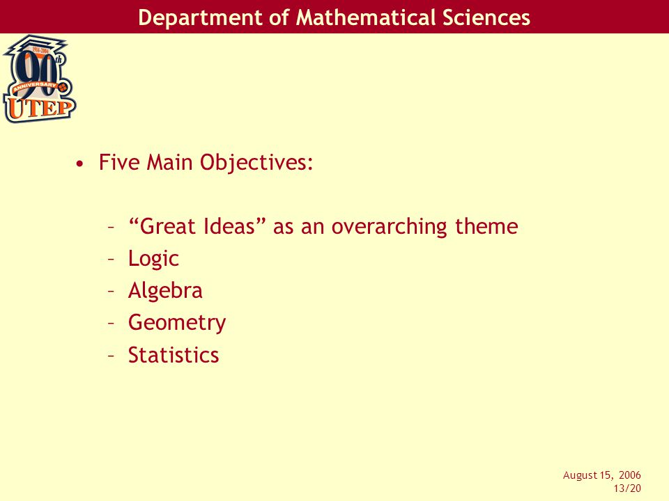 Department of Mathematical Sciences August 15, 2006 13/20 Five Main Objectives: – Great Ideas as an overarching theme –Logic –Algebra –Geometry –Statistics