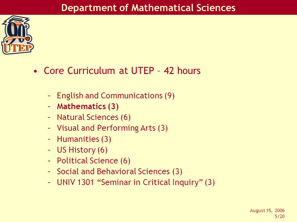 Department of Mathematical Sciences August 15, 2006 5/20 Core Curriculum at UTEP – 42 hours –English and Communications (9) –Mathematics (3) –Natural Sciences (6) –Visual and Performing Arts (3) –Humanities (3) –US History (6) –Political Science (6) –Social and Behavioral Sciences (3) –UNIV 1301 Seminar in Critical Inquiry (3)