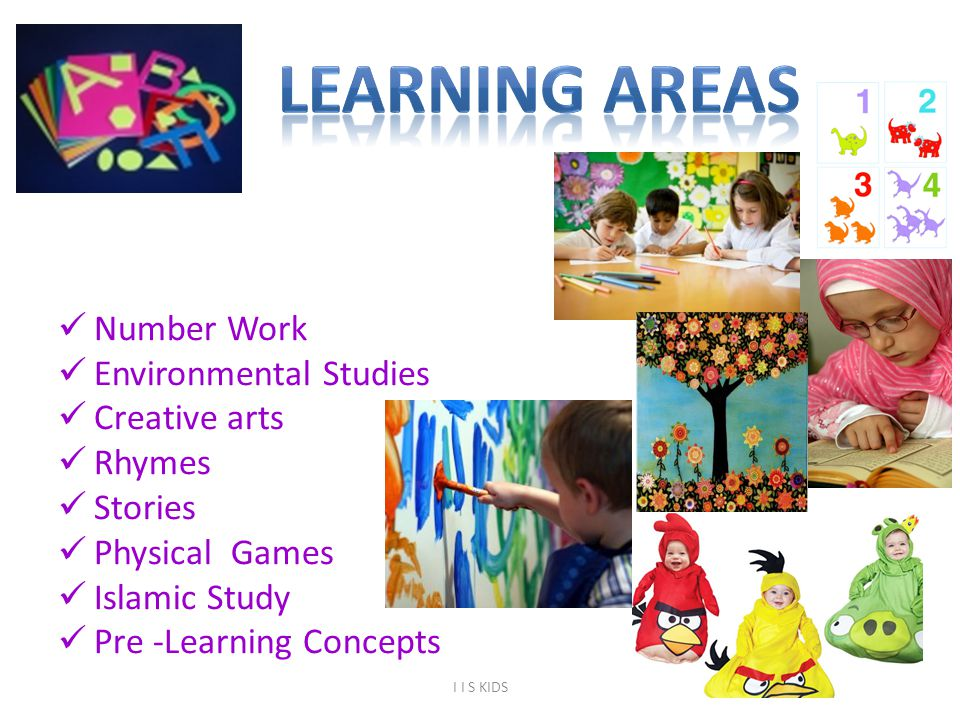 Number Work Environmental Studies Creative arts Rhymes Stories Physical Games Islamic Study Pre -Learning Concepts 6 I I S KIDS