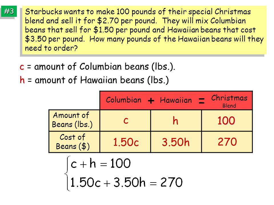 #3#3 c c = amount of Columbian beans (lbs.).