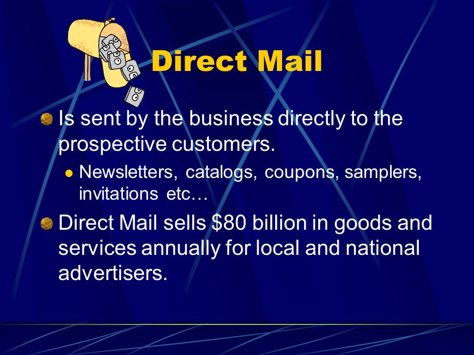 Direct Mail Is sent by the business directly to the prospective customers.