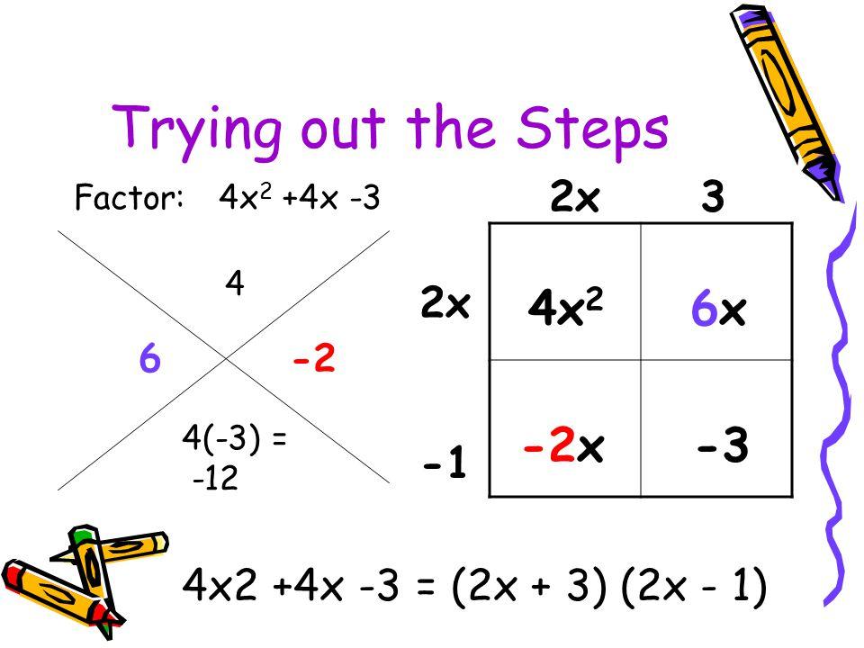 Trying out the Steps Factor: 4x 2 +4x -3 4x 2 6x -2x -3 4(-3) = -12 4 6-2 2x 3 4x2 +4x -3 = (2x + 3) (2x - 1)