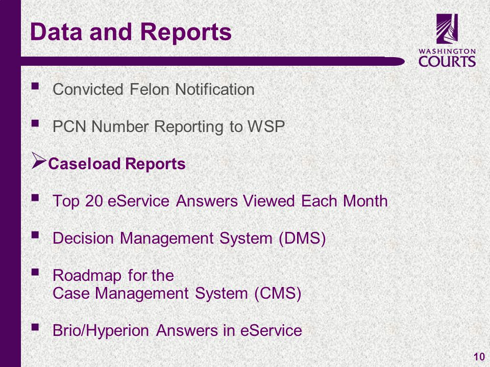c 10  Convicted Felon Notification  PCN Number Reporting to WSP  Caseload Reports  Top 20 eService Answers Viewed Each Month  Decision Management System (DMS)  Roadmap for the Case Management System (CMS)  Brio/Hyperion Answers in eService Data and Reports