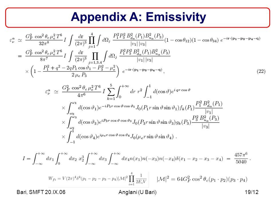 Bari, SMFT 20.IX.06Anglani (U Bari)19/12 Appendix A: Emissivity