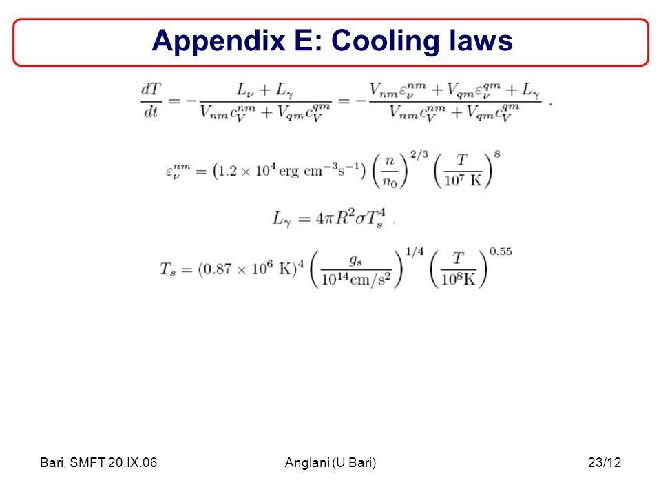 Bari, SMFT 20.IX.06Anglani (U Bari)23/12 Appendix E: Cooling laws