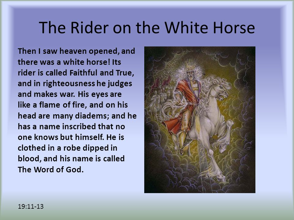 The Rider on the White Horse And the armies of heaven, wearing fine linen, white and pure, were following him on white horses.