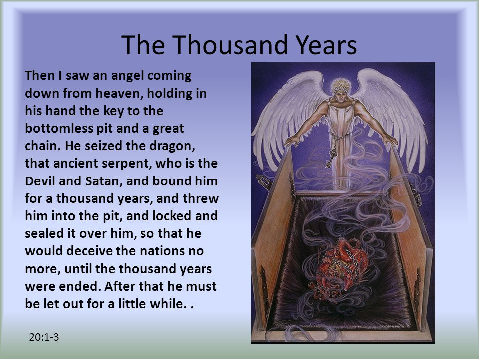 Satan's Doom When the thousand years are ended, Satan will be released from his prison and will come out to deceive the nations at the four corners of the earth, Gog and Magog, in order to gather them for battle; they are as numerous as the sands of the sea.