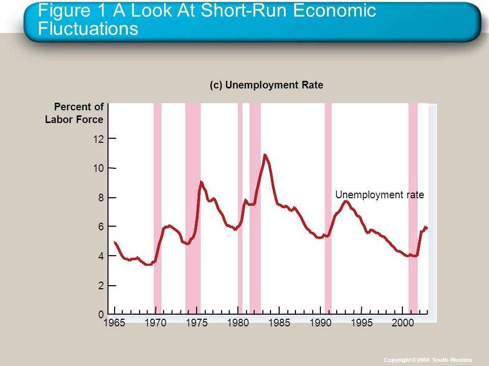 Figure 1 A Look At Short-Run Economic Fluctuations Percent of Labor Force (c) Unemployment Rate 0 2 4 6 8 10 12 19651970197519801985199019952000 Unemp