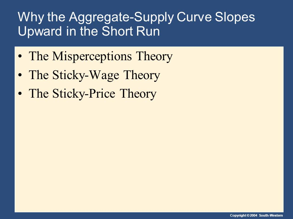 Why the Aggregate-Supply Curve Slopes Upward in the Short Run The Misperceptions Theory The Sticky-Wage Theory The Sticky-Price Theory