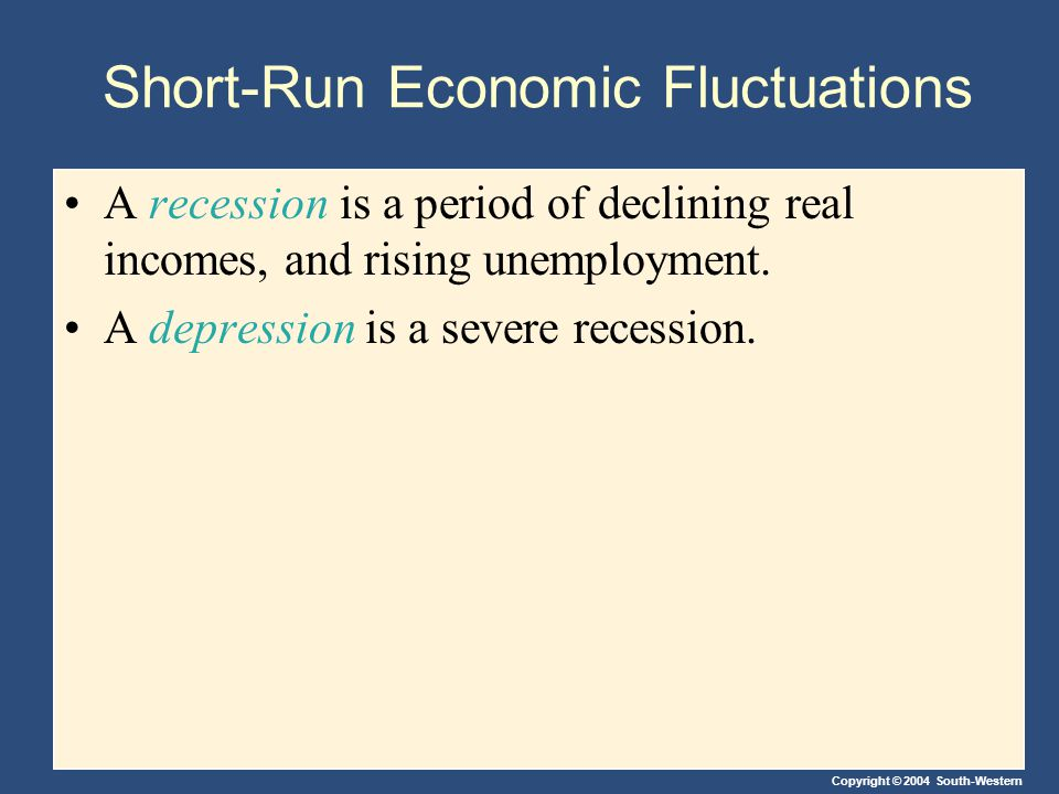 Copyright © 2004 South-Western Short-Run Economic Fluctuations A recession is a period of declining real incomes, and rising unemployment. A depressio
