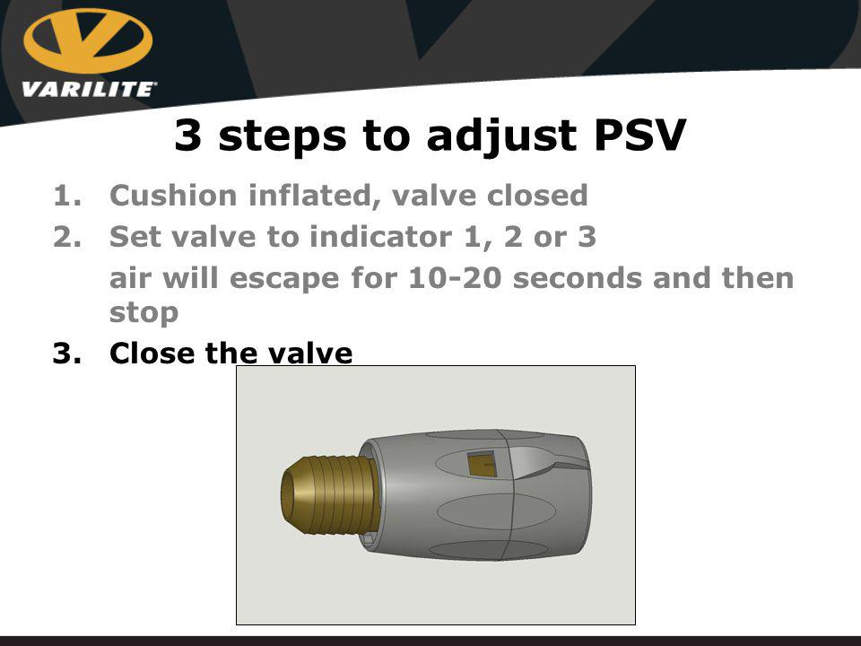 1.Cushion inflated, valve closed 2.Set valve to indicator 1, 2 or 3 air will escape for 10-20 seconds and then stop 3.Close the valve 3 steps to adjust PSV