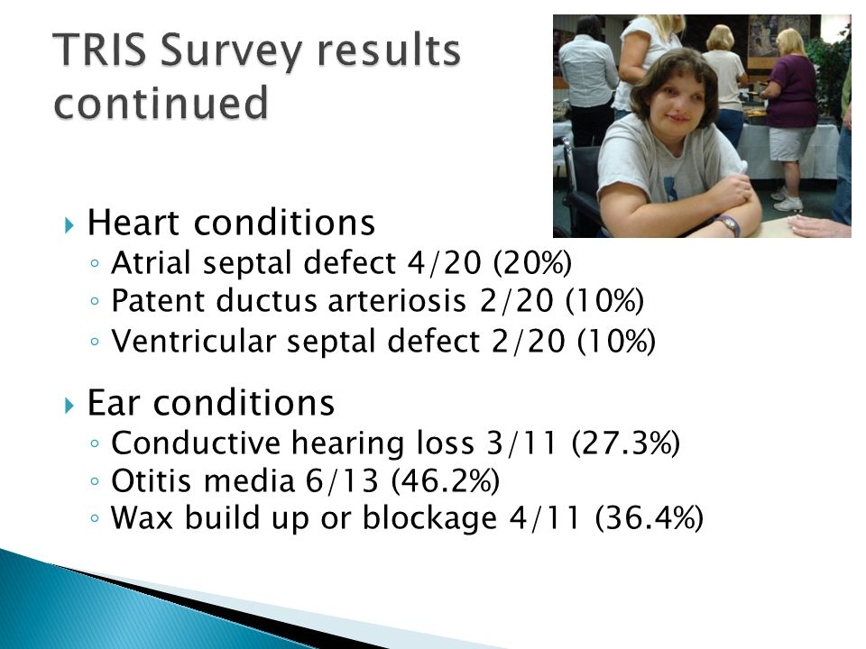  Heart conditions ◦ Atrial septal defect 4/20 (20%) ◦ Patent ductus arteriosis 2/20 (10%) ◦ Ventricular septal defect 2/20 (10%)  Ear conditions ◦ Conductive hearing loss 3/11 (27.3%) ◦ Otitis media 6/13 (46.2%) ◦ Wax build up or blockage 4/11 (36.4%)