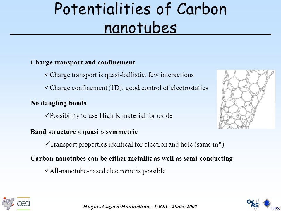 Hugues Cazin d'Honincthun – URSI - 20/03/2007 UPS Potentialities of Carbon nanotubes Charge transport and confinement Charge transport is quasi-ballistic: few interactions Charge confinement (1D): good control of electrostatics Band structure « quasi » symmetric Transport properties identical for electron and hole (same m*) Carbon nanotubes can be either metallic as well as semi-conducting All-nanotube-based electronic is possible No dangling bonds Possibility to use High K material for oxide