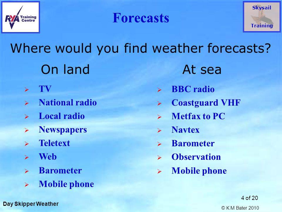 Skysail Training © K M Bater 2010 5 of 20 Forecasts What is the sequence of the Shipping Forecast.