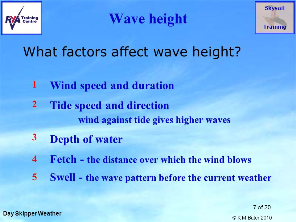 Skysail Training © K M Bater 2010 7 of 20 Wave height What factors affect wave height.