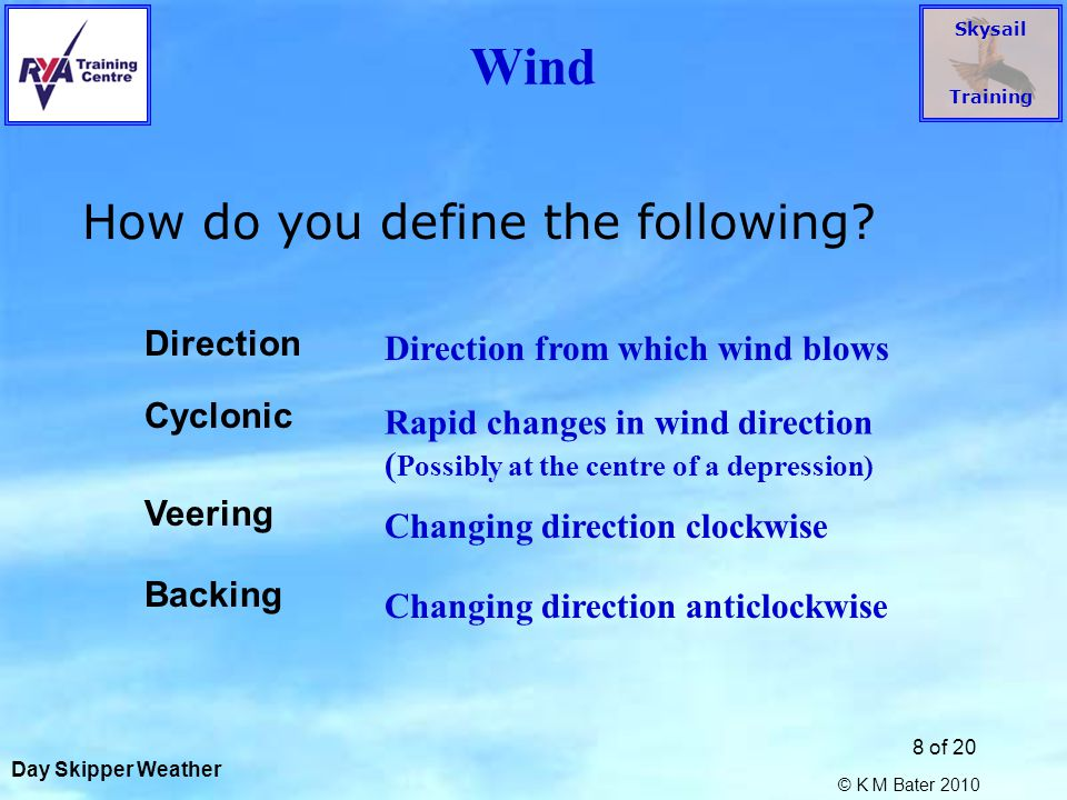 Skysail Training © K M Bater 2010 19 of 20 Pressure Systems What is the likely wind at A, B, C .
